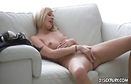 The Blonde Student Masturbates Deeply