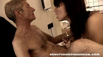 An Old Man Of 80 Years Of Sucking The Dick Of A Hot Brunette
